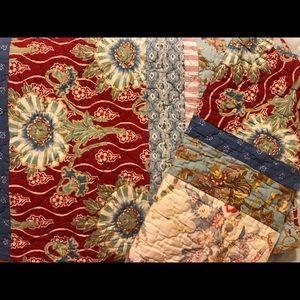 Pottery Barn Vintage Floral / Stripe Quilt Set